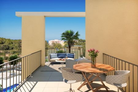 Newly built top floor apartment with sea views in Cala Vinyes